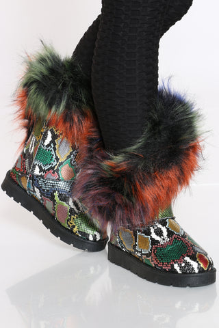 Women's Faux Fur Side Open Boot - Multi-VIM.COM