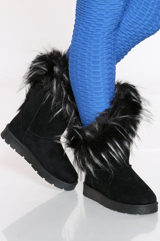 Women's Faux Fur Side Open Boot - Black-VIM.COM