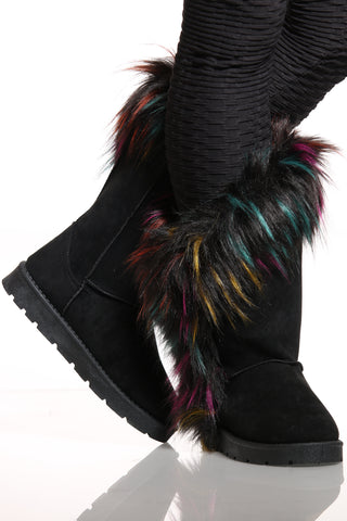 Women's Faux Fur Side Open Slip On Boot - Black Multi-VIM.COM