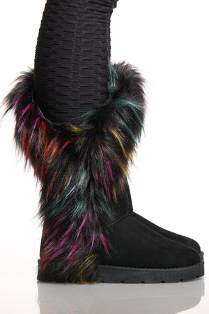 Women's Faux Fur Side Open Slip On Boot - Black Multi