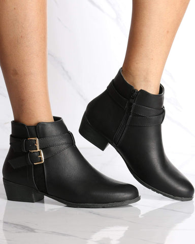 Women's Maddy Side Buckle Ankle Bootie - Black-VIM.COM