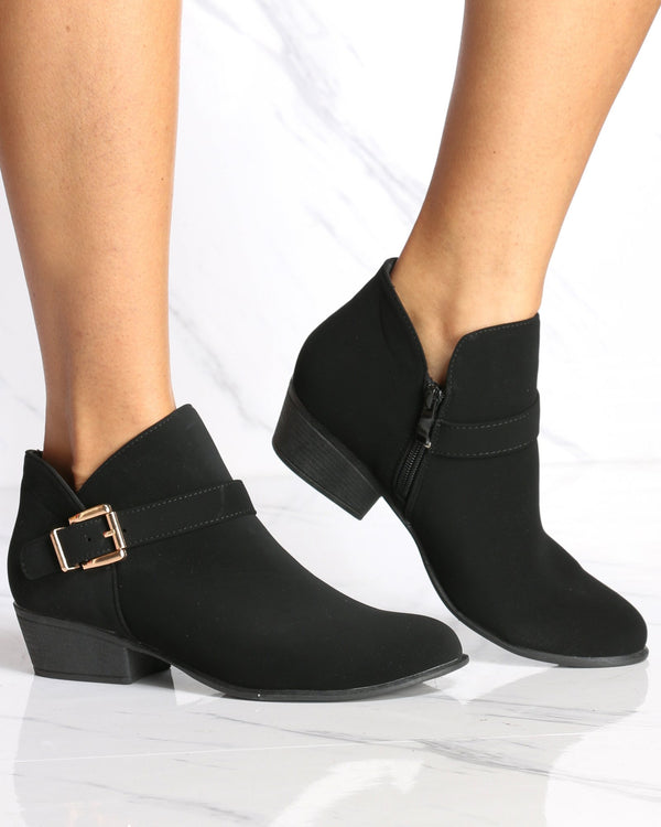 Women's Grace Buckle Ankle Bootie - Black-VIM.COM