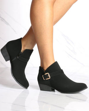 Women's Grace Buckle Ankle Bootie - Black