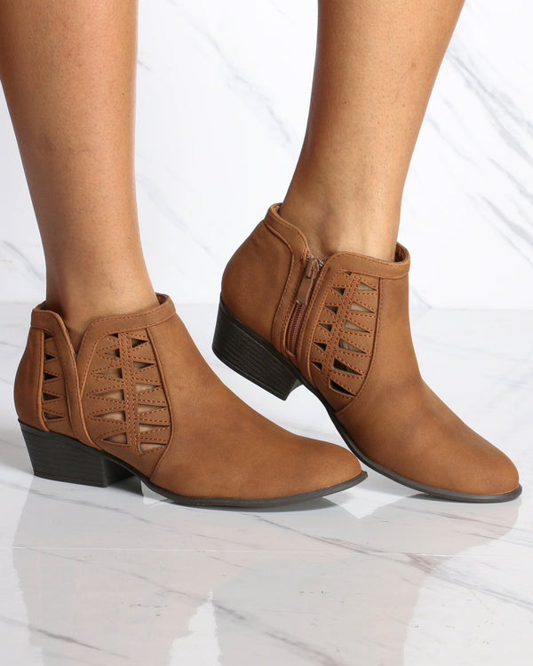 Women's Franny Cut Out Ankle Bootie - Tan-VIM.COM