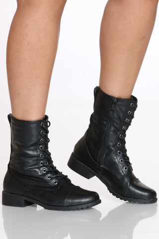 Women's Camille Lace Up Combat Bootie - Black-VIM.COM