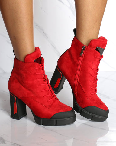 Women's Betta Lace Up Chunky Heel Lug Sole Bootie - Red-VIM.COM