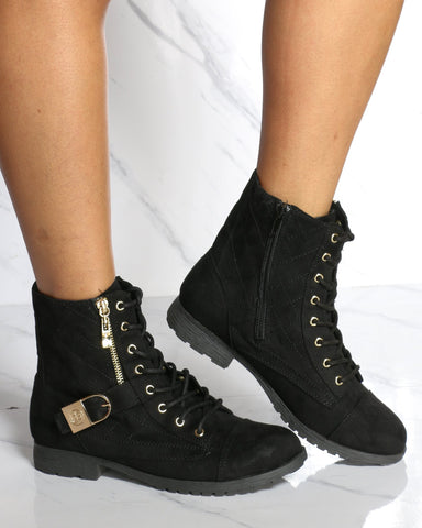 Women's Bebe Side Zipper Lace Up Military Boot - Black-VIM.COM