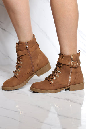 Women's Gold Side Buckle Lace Up Bootie - Tan