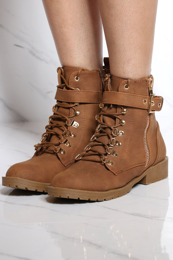 Women's Gold Side Buckle Lace Up Bootie - Tan-VIM.COM