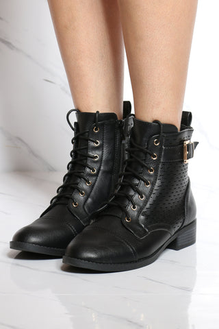 Women's Perforated Lace Up Military Bootie - Black