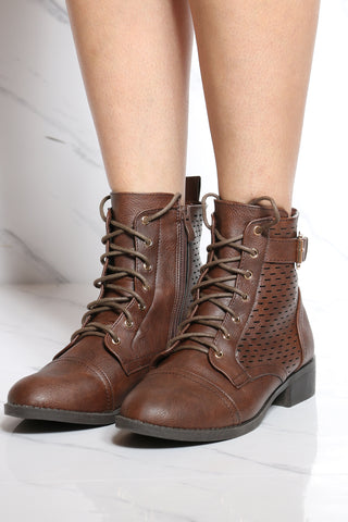 Women's Perforated Lace Up Military Bootie - Brown