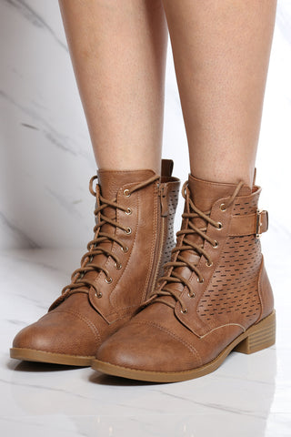 Women's Perforated Lace Up Military Bootie - Tan