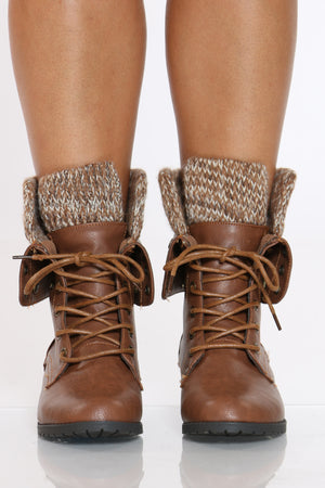 Women's Sweater Top Combat Bootie - Tan