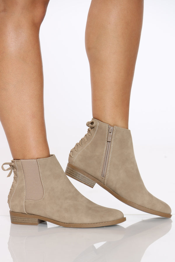 Women's Back Lace Up Side Elastic Bootie - Khaki-VIM.COM