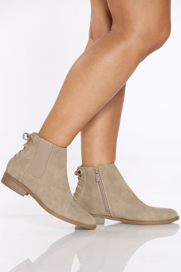 Women's Back Lace Up Side Elastic Bootie - Khaki
