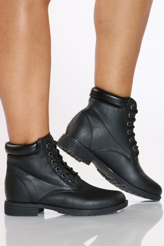 Women's Lace Up Construction Bootie - Black-VIM.COM