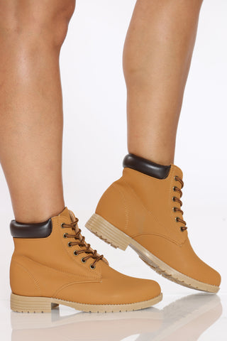 Women's Lace Up Construction Bootie - Tan-VIM.COM