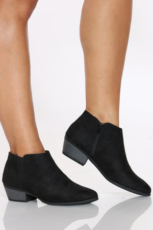 Women's Ankle Side Zipper Bootie - Black-VIM.COM