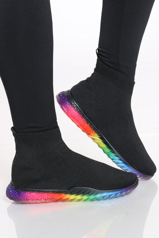 Women's Rainbow Bottom Sock Sneaker - Black