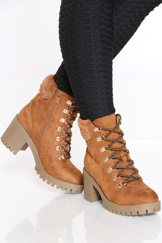 Women's Faux Fur Top Chunky Heel Bootie - Tan-VIM.COM