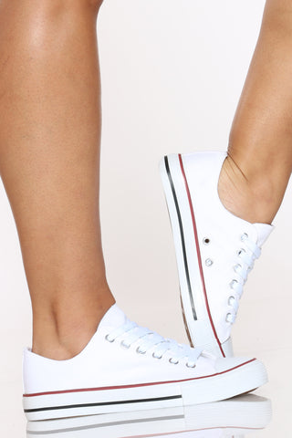 Women's Olivia Low Top Canvas Sneaker - White-VIM.COM