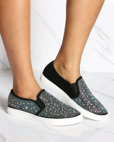 VIM VIXEN Bella Rhinestone Slip On Shoe - Black - ShopVimVixen.com