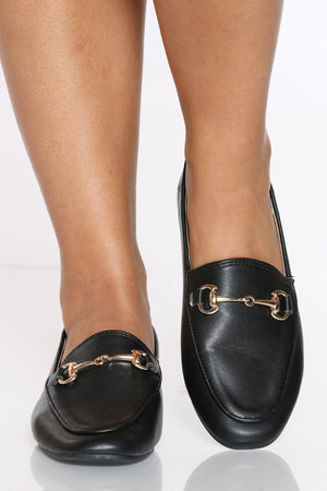 Women's Buckle Loafer - Black-VIM.COM