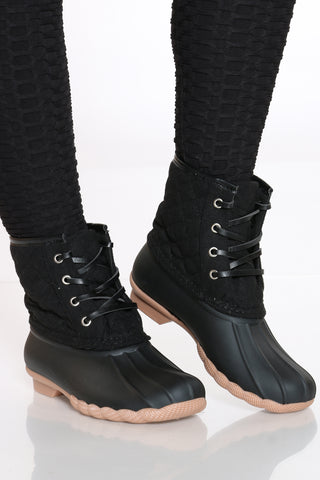 Women's Duck Rain Boot - Black-VIM.COM