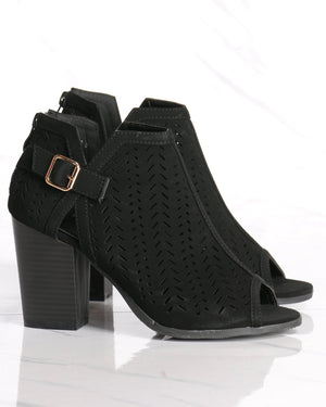 Women's Glenda Perforated Chunky Heel - Black