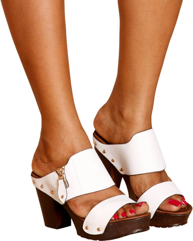 VIM VIXEN Brittney Slip On Wooden Heel - White - ShopVimVixen.com