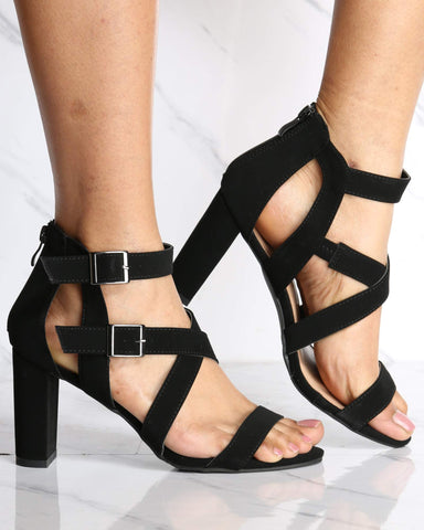 Women's Alana Two Buckle Chunky Heel - Black-VIM.COM
