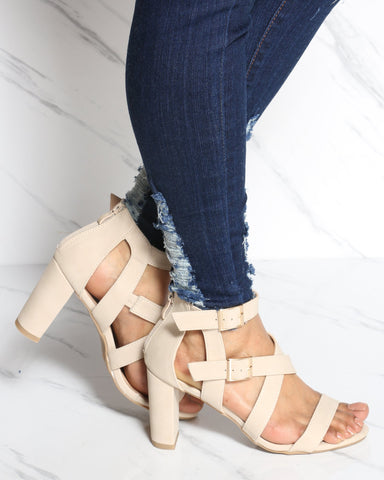 VIM VIXEN Two Buckle Zip Up Chunky Heel - Beige - ShopVimVixen.com