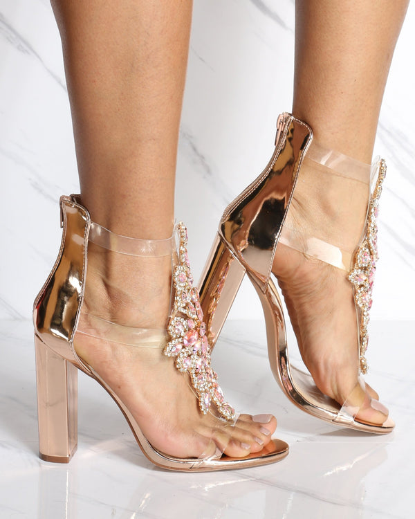 Women's Avril Rhinestone Chunky Heel - Rose Gold