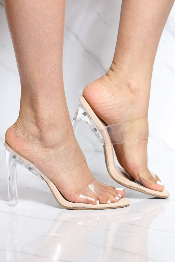 Women's 2 Clear Strap Transparent Heel - Nude-VIM.COM