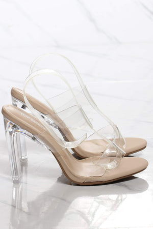 Women's 2 Clear Strap Transparent Heel - Nude