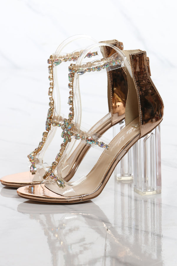 Women's Color Stone Jewel Chunky Heel - Rose Gold
