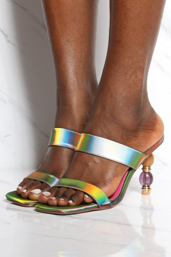 Women's Squared Toe 2 Clear Straps Heel - Multi Iridescent