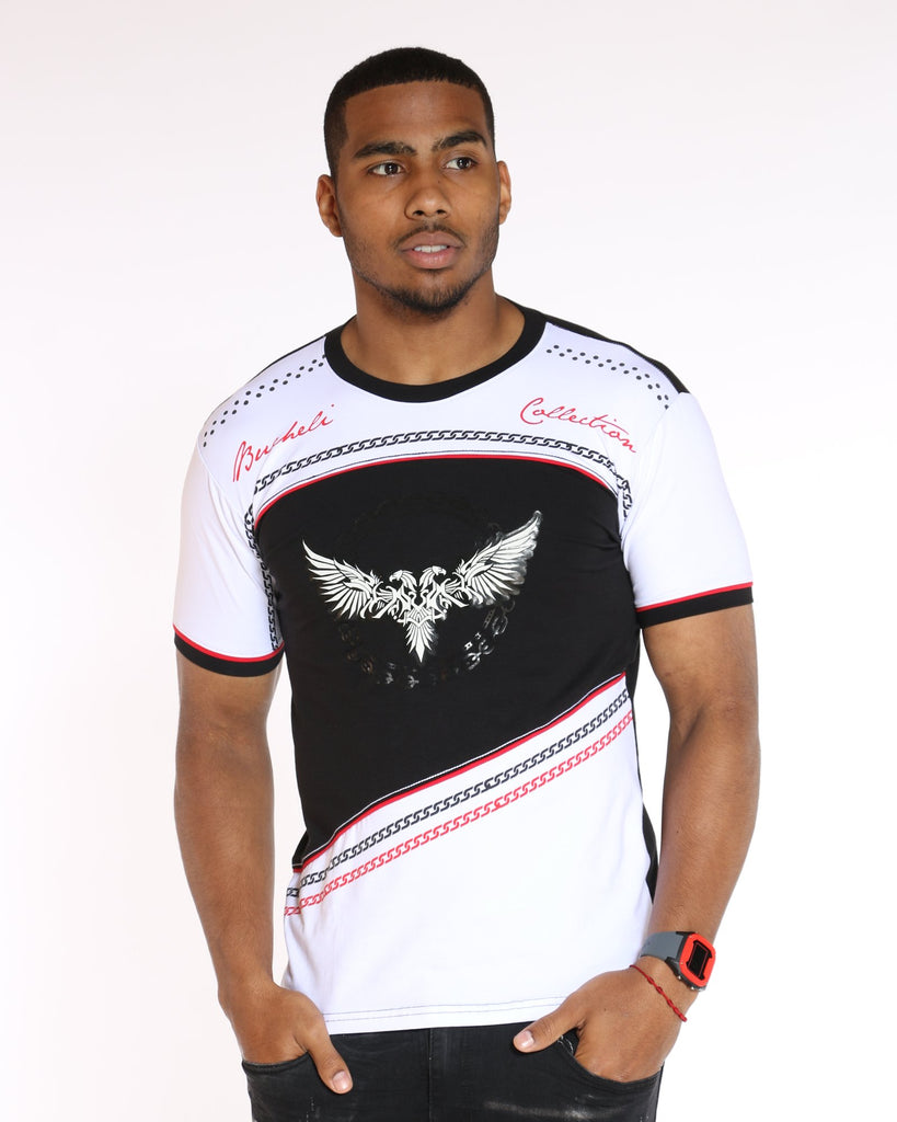 VIM Chain & Eagle Wing Printed Tee - Black - Vim.com