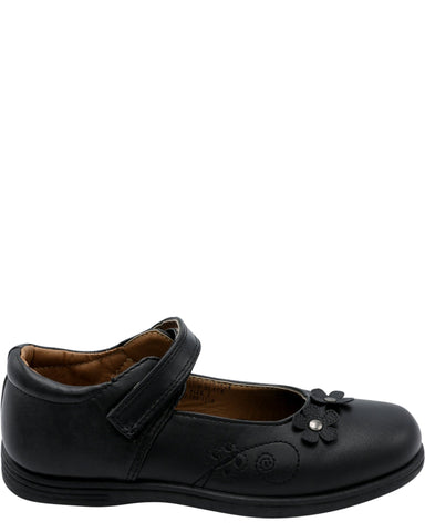 VIM Girl'S Memory Foam Flower Velcro School Shoes - Black - Vim.com