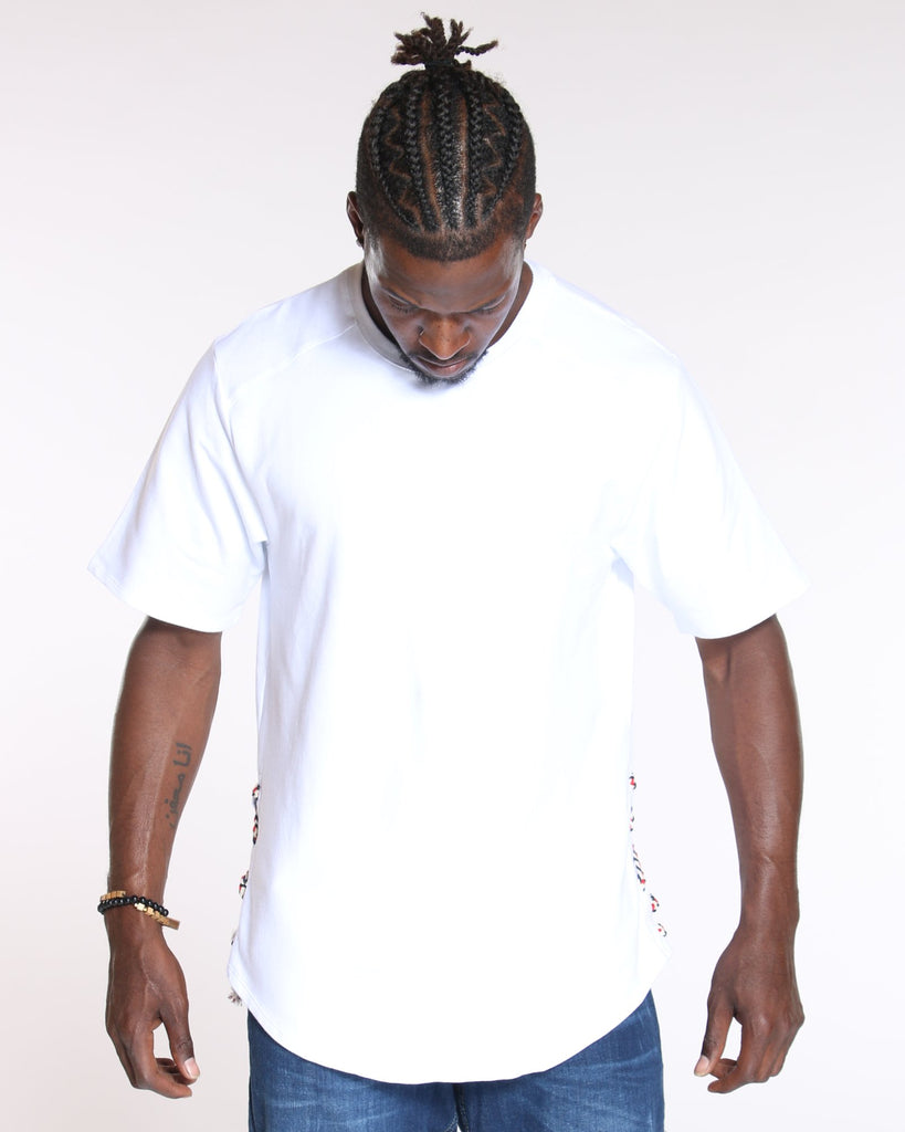 VIM Side Lace Up Scallop Bottom Tee - White - Vim.com