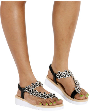 VIM VIXEN Cendy Flower Toe Ring Sandal - Black - ShopVimVixen.com