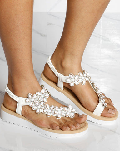 VIM VIXEN Cendy Flower Toe Ring Sandal - White - ShopVimVixen.com