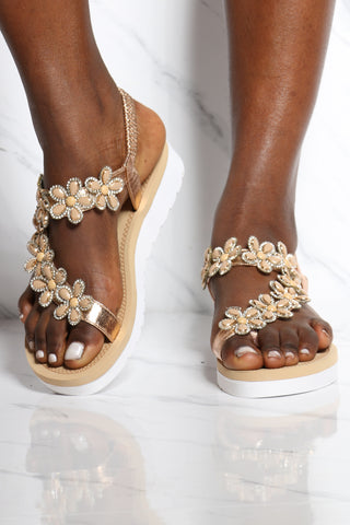 Women's Bottom Toe Ring Flower Sandal - Champagne-VIM.COM