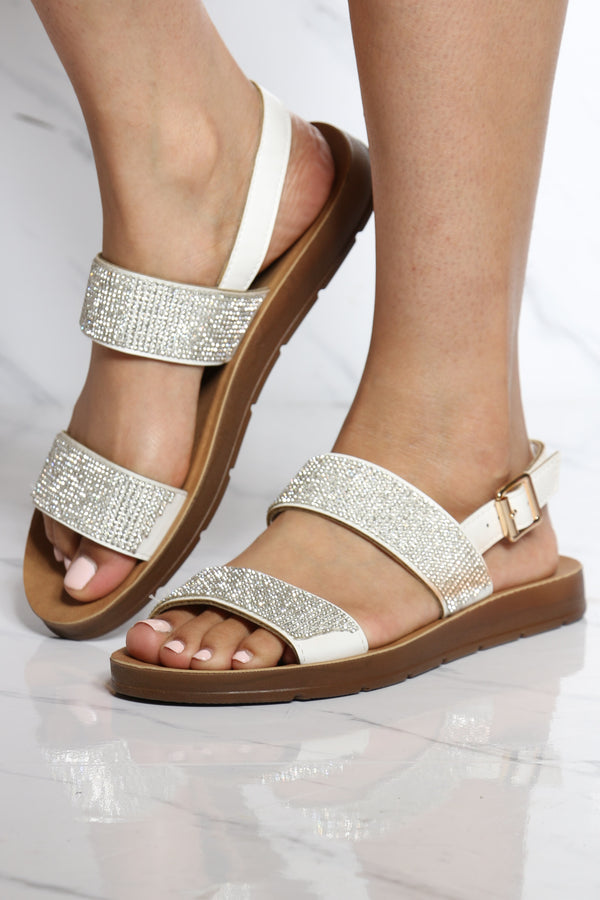 Women's Two Band Rhinestone Sandal - White