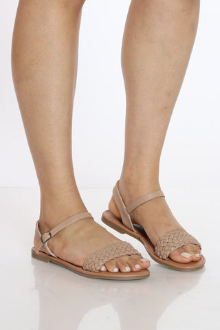 Women's One Band Braided Sandal - Beige-VIM.COM