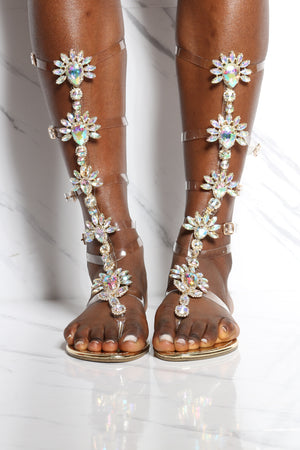 Women's Jeweled Clear Tall Gladiator Sandal - Gold