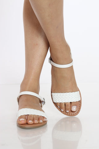 Women's One Band Braided Sandal - White-VIM.COM
