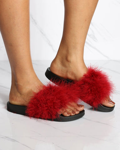 VIM VIXEN Taniya Fur Slip On Slide - Burgundy - ShopVimVixen.com
