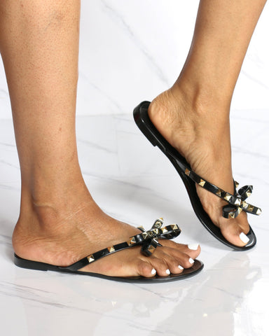 Women's Alex Studded Jelly Flip Flop Sandal - Black-VIM.COM