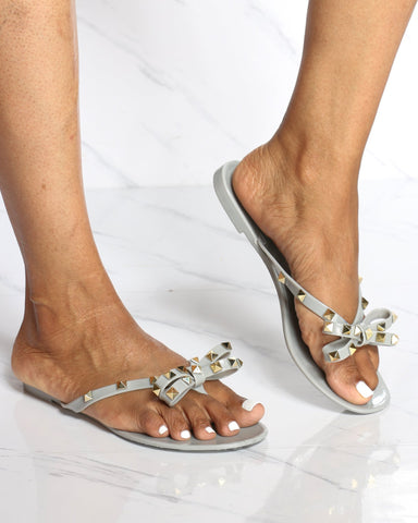 Women's Alex Studded Jelly Flip Flop Sandal - Grey-VIM.COM